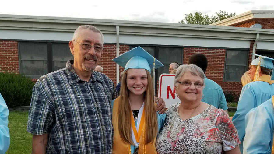 female high school graduate in cap and gown, flanked by her parents