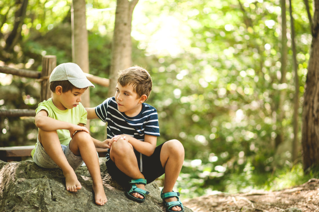 Oldest Brother Consoling Youngest Brother During The Journey Through The Woods