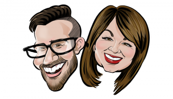 Caricature of Taylor and Jen
